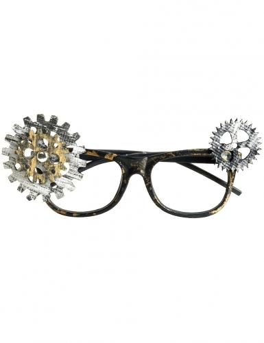 Steampunk-Nerdbrille schwarz-silber