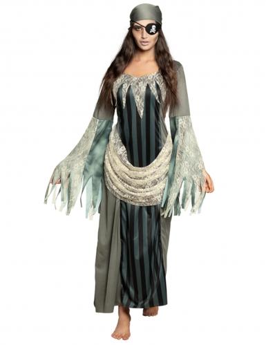 Geister-Piratin-Kostüm Halloween grau-weiss-schwarz