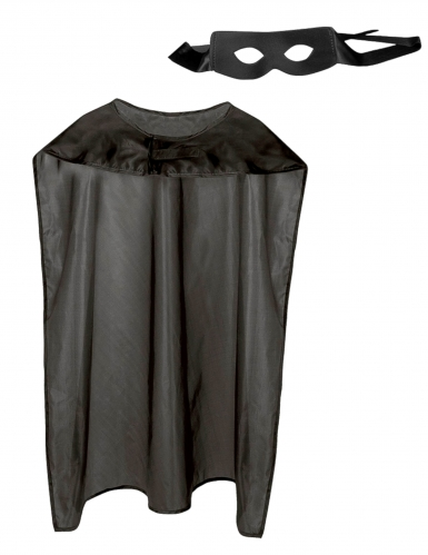 Superheld-Set für Erwachsene mit Cape und Maske schwarz