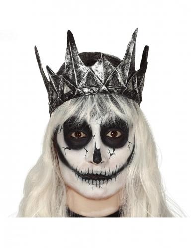 Schaurige Krone des Todes Halloween-Accessoire silber-grau