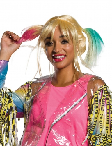 Perücke Harley Quinn Birds of Prey™ Damenperücke blond-rosa-blau