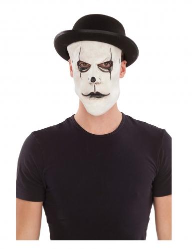 Pontomime-Maske mit Hut Halloween schwarz-weiß