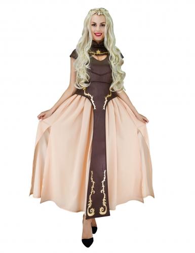 Mittelalter-Kostüm Fantasy-Prinzessin braun-beige-gold