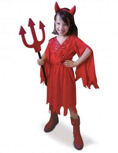Freche Teufelin Mädchen-Halloweenkostüm rot