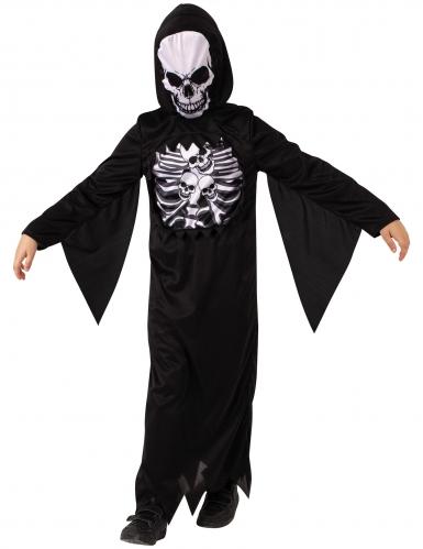 Schauriges Skelett-Kostüm für Kinder Halloweenkostüm schwarz-weiss