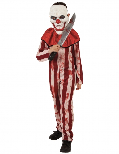 Gestreiftes Horrror-Clown-Kostüm für Kinder mit Maske rot-beige