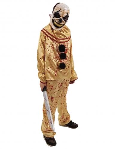 Horrorclown-Kostüm für Teenager Killerclown gold-rot
