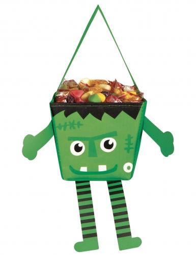 Monster Halloween-Tasche für Kinder Trick or Treat grün-schwarz-weiß 17 cm