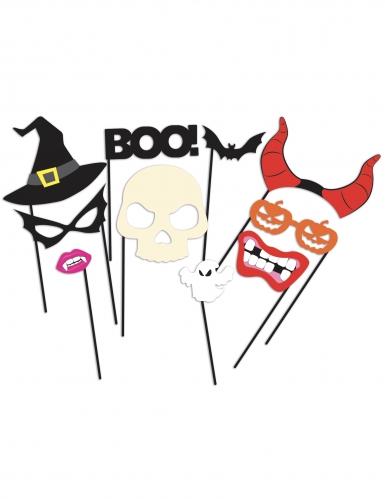 Halloween Foto-Booth Set 10-teilig bunt