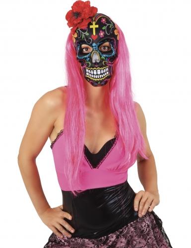 Dia-de-los-Muertos-Maske mit Rose Halloween bunt