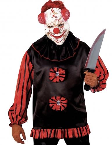 Blutige Horrorclown-Maske Killerclown Halbmaske weiss-rot