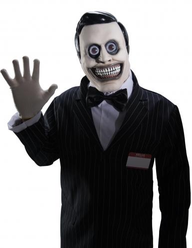 Höllische Verkäufer-Maske für Herren Halloweenmaske schwarz-weiss