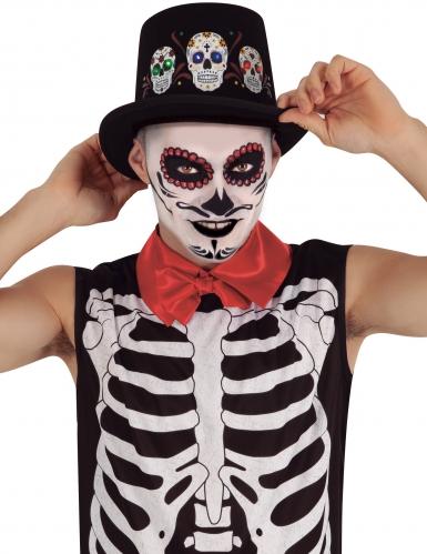 Tag der Toten-Hut für Erwachsene mit Leuchteffekt Halloween-Accessoire schwarz-bunt