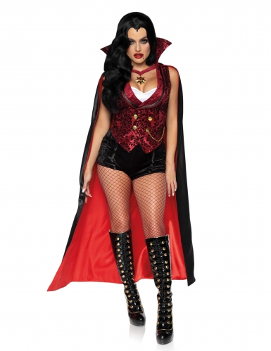 Heiße Vampirgräfin Damenkostüm für Halloween schwarz-rot