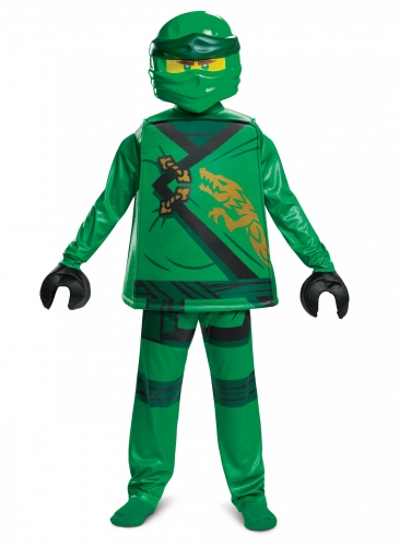 Hochwertiges Lloyd-Kostüm Lego Ninjago™ für Kinder grün-schwarz-goldfarben