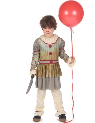 Schrecklicher Killerclown Halloween-Kostüm für Jungen bunt