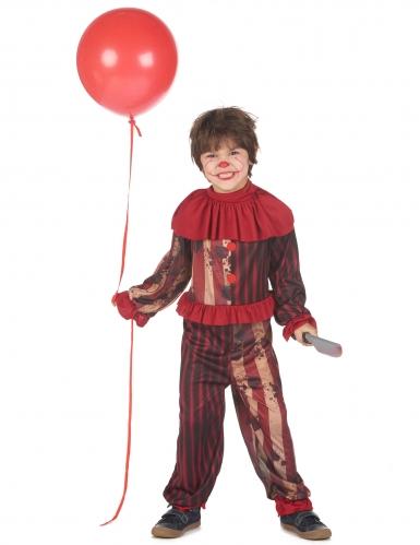 Schrecklicher Mörderclown Kinderkostüm rot-schwarz-braun