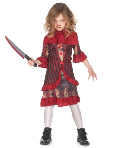 Horrorclown-Kostüm mit Rüschen rot-braun-schwarz