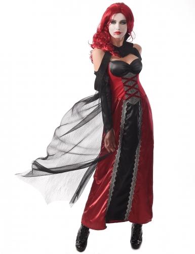 Sexy Vampir-Kostüm für Damen Halloween-Outfit schwarz-rot-grau
