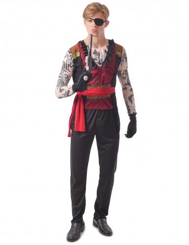 Tätowierter Pirat Herrenkostüm schwarz-rot-beigefarben