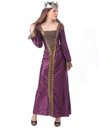 Mittelalterliches Königin-Kostüm Kleid mit Krone lila-gold