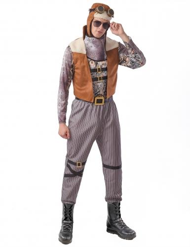 Mutiger Steampunk-Pilot Herrenkostüm braun-grau-schwarz