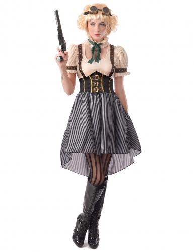 Steampunk-Kostüm für Damen Kleid mit Fliegerbrille weiss-schwarz-braun