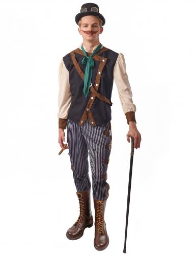 Dandy-Steampunk-Kostüm für Herren Halloweenkostüm blau-braun-beige