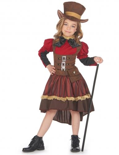 Steampunk-Kostüm für Mädchen braun-rot-schwarz