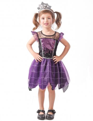 Freche Spinnenhexe Kinderkostüm violett-schwarz-silberfarben