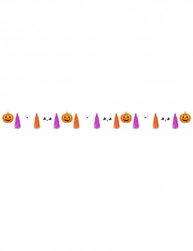 Halloween-Girlande mit Kürbis und Tasseln orange-weiss-lila 3 m