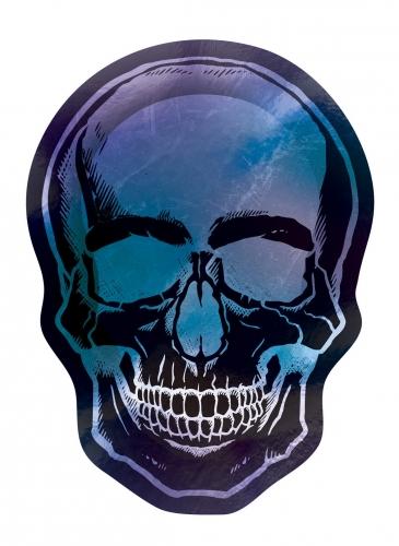 Schädel-Pappteller Totenkopf 8-Stück schwarz-blau-violett