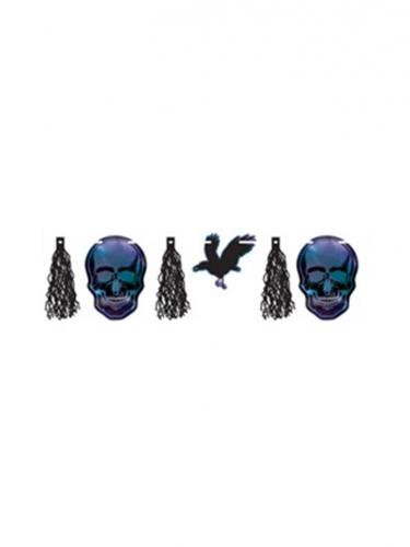 Halloween-Girlande Krähen und Schädel blau-schwarz 3 m