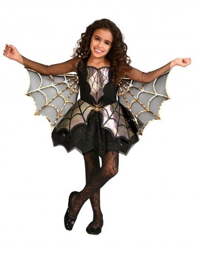 Niedliches Spinnen-Mädchenkostüm Halloween schwarz-gold