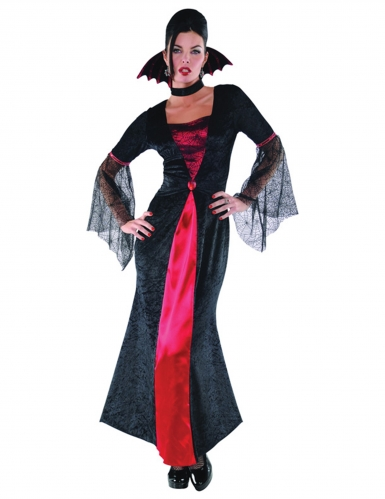 Klassisches Vampir-Kostüm für Damen Halloween schwarz-rot