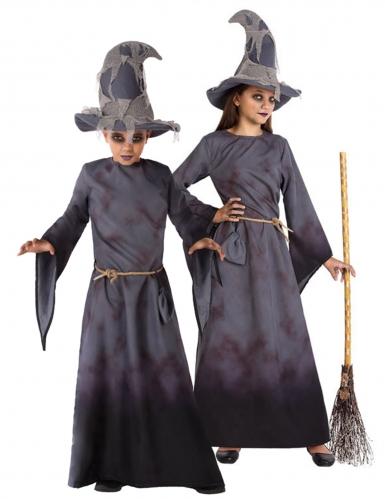 Hexen-Kostüm für Kinder Magier-Kostüm Halloween grau