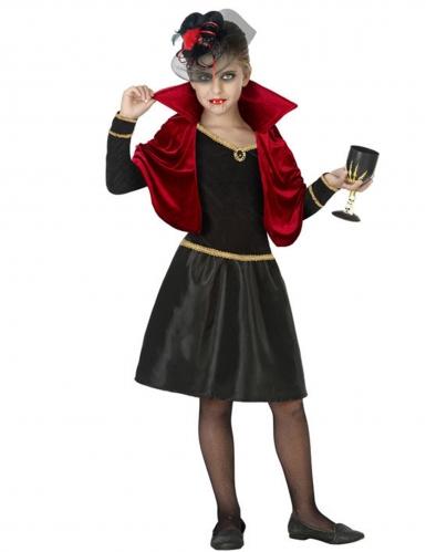 Vampir-Kostüm für Mädchen Elegante Vampirin schwarz-gold-rot
