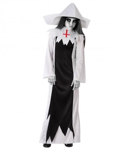 Horror-Nonne-Kostüm für Mädchen Halloween schwarz-weiss