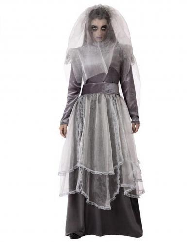 Geister-Braut-Kostüm für Damen Halloweenkostüm grau