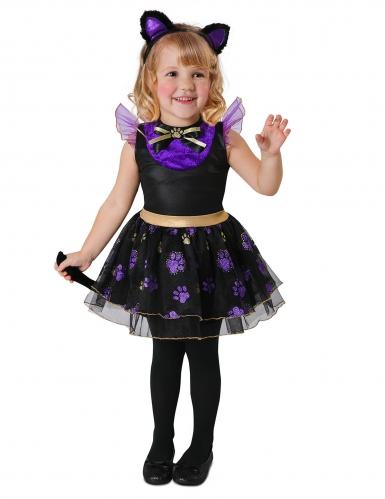 Katzenkostüm für Mädchen Halloween schwarz-lila