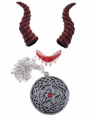 Dämon-Set 4-teilig Satanisten-Accessoire