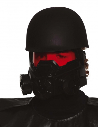Apokalyptische Soldaten-Maske für Erwachsene schwarz-rot
