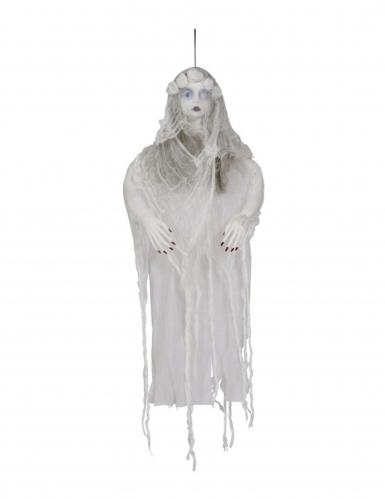 Leuchtender Geist einer Verstorbenen Halloween-Dekofigur weiß-braun-schwarz 120 cm