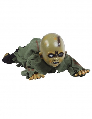 Animiertes Zombie-Baby Halloween-Dekofigur grün-rot 75 cm