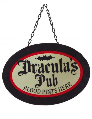 Dracula's Pub-Dekoschild Halloween Vampir-Deko schwarz-rot 47 x 33 cm