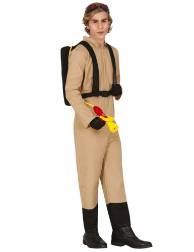 Geisterjäger-Kostüm für Erwachsene mit Rucksack beige-schwarz