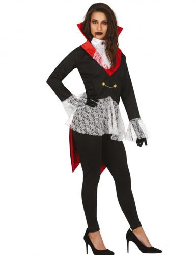 Vampirkostüm für Damen schwarz-weiss-rot