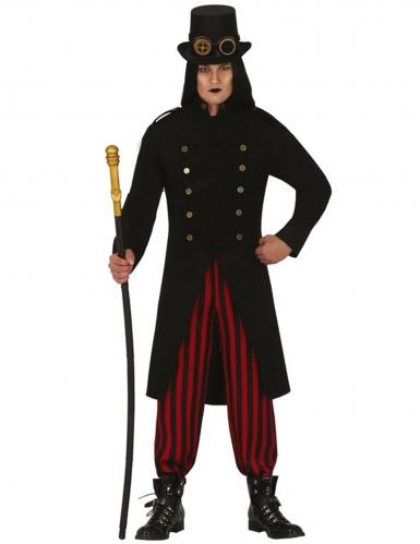 Vornehmes Steampunk-Herrenkostüm schwarz-rot-bronzefarben