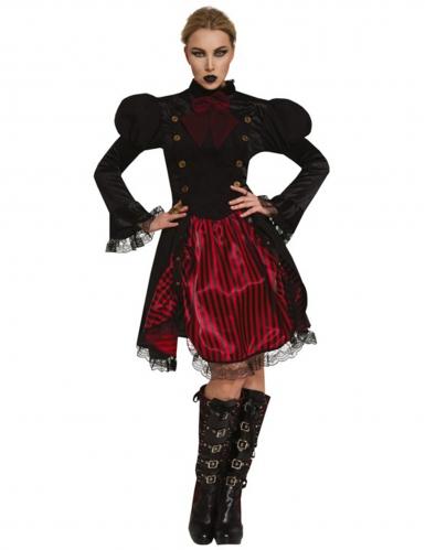 Elegantes Steampunk-Kostüm für Damen schwarz-rot
