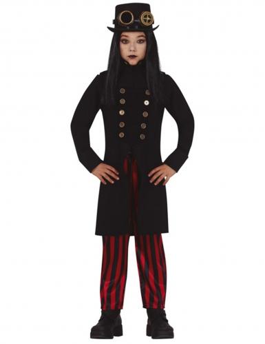 Steampunk-Kostüm für Mädchen schwarz-rot-goldfarben